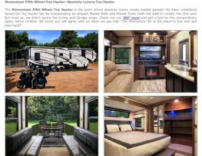 2014 Grand Design Momentum 385th Toy Hauler 5th Wheel