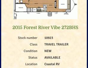 2015 Forest River Vibe 272BHS