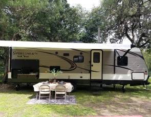 2018 Sportsmen, Escapade with Kuerig coffee maker, Amazon Prime USB ports,BLU tooth speakers inside/outside,outdoor kitchen with table with four chairs, too many extras to list.Scroll through our page and save $.