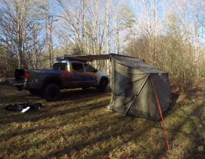 2016 Toyota Tacoma with side awning and tent