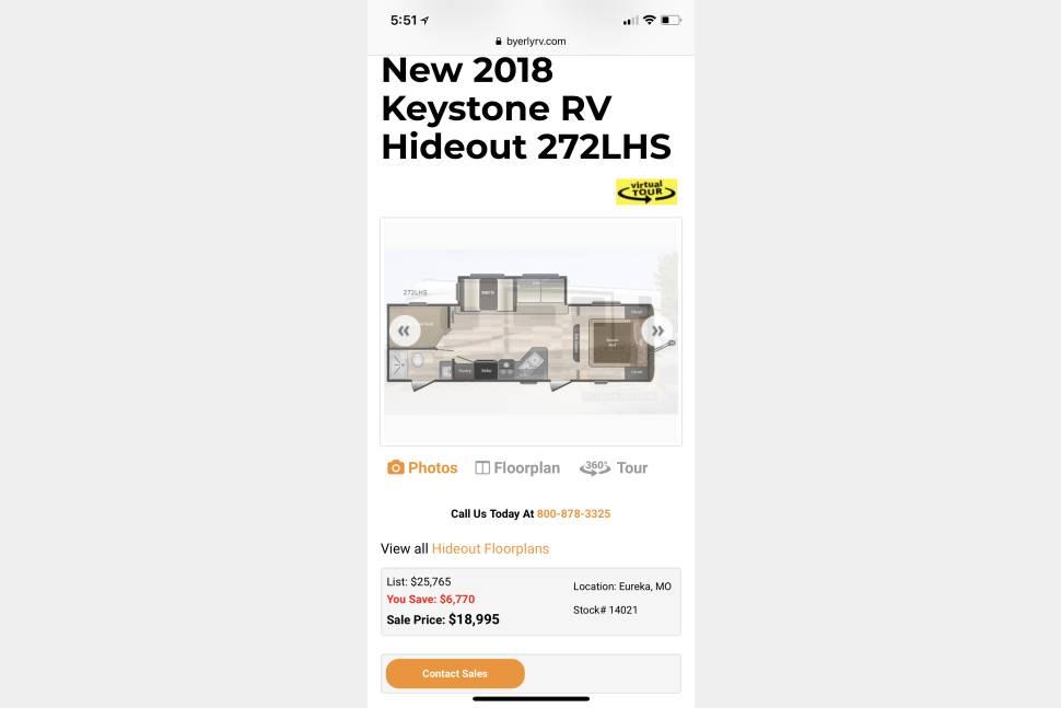 2018 Keystone Hideout 272lhs - 2018 Keystone Hideout 272lhs