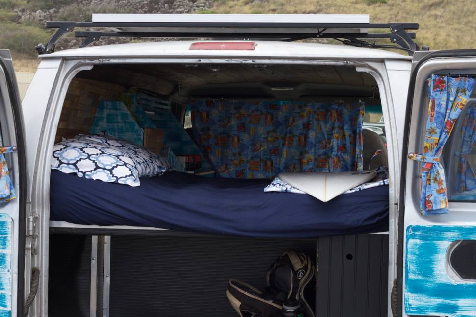 2001 Ford E350 - North Shore surf bus - silver van